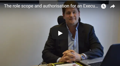 The role scope and authorisation for an Executive Managing Agent